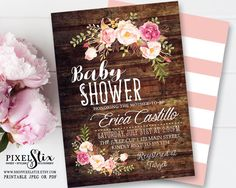 Rustic Floral Baby Shower Invitation, Shabby Chic Girl Invite, Peony and Rose, Vintage Wood, Country Style, Boho Baby Sprinkle, PRINTABLE by shopPIXELSTIX on Etsy