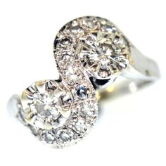 1 CT ESTATE DIAMOND RING 14K WHIT GOLD ROUND CUT NATURAL VINTAGE RETRO SIZE 6.5