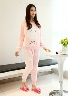 Winter New Thickened Cute Sleeping Owl Coral Fleece Pajamas Home Furnishing Suit Coral Velvet Home Wear One Size Leisure Wear-in Pajama Sets from Women's Clothing & Accessories on Aliexpress.com | Alibaba Group