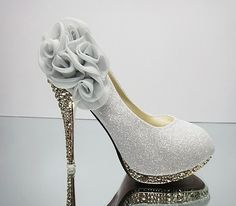 New Sexy wedding shoes for Women pumps Platform Pumps High heels sapatos femininos Big flower shoes Many styles Zapatos mujer(China (Mainland)) Silver Bridal Shoes, Silver Shoes Heels, Stiletto Heels, Silver Flats, Silver Sequin, Sexy Wedding Shoes, Bright Heels, Flower Shoes, Prom Heels