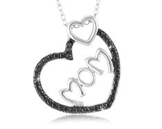 $14.99 - Black Diamond Accent Mom Pendant in Sterling Silver