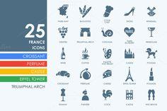 25 France icons by Palau on Creative Market