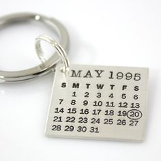 Mark Your Calendar Keychain: personalized sterling silver keychain - save the date on Etsy
