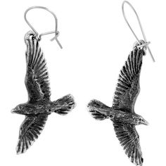 Alchemy Gothic Black Raven Earrings ($12) ❤ liked on Polyvore featuring jewelry, earrings, goth earrings, gothic jewelry, gothic jewellery, goth jewelry and gothic earrings