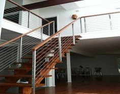 cable railing Metal Railings, Cable Railing, Staircase Railings, Commercial Stairs, Interior Railings, Contemporary Stairs, Outside Living, Office Spaces, Remodeling