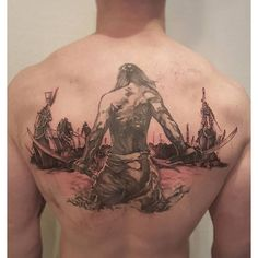 Men's Back Warrior Tattoo