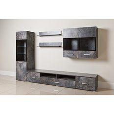 Ensemble mural meuble colonne +meuble 2 portes + meuble TV + 2 étagères
