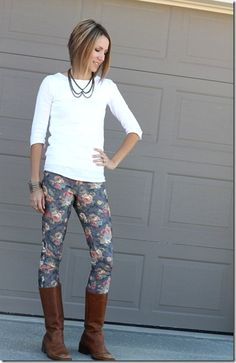 collar necklace, floral jeans, boots