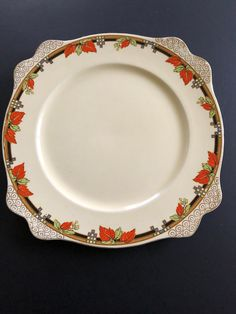 1947 Royal Staffordshire Honey Glaze Square Dinner Plate Honey Glaze, Orange Leaf, Vintage China, Pie Dish, Dinner Plates, Chips, Pottery, Cream, Tableware