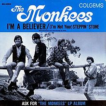 """""""I'm a Believer"""" is a song composed by Neil Diamond and recorded by The Monkees in 1966 with the lead vocals by Micky Dolenz. The single, produced by Jeff Barry, hit the number one spot on the U.S. Billboard Hot 100 chart for the week ending December 31, 1966 and remained there for seven weeks. Because of 1,051,280 advance orders, it went gold within two days of release. It is one of the fewer than thirty all-time singles to have sold 10 million (or more) copies worldwide."""
