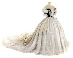 Reproduction in museum of Habsburg empress Elizabeth's Hungarian coronation dress by Worth. I usually don't have any desire to replicate Civil War era gowns but the combination of the creamy white and the lace and the black on the bodice is just beautiful.