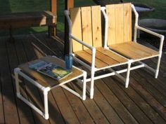 PVC Furniture. No tutorial... just this picture. Possibly combining PVC with pallet wood?