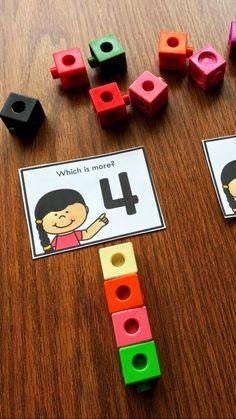 Kindergarten Reading Activities, Classroom Activities, Preschool Activities, Teacher Sites, Teacher Hacks, Fun Math, Maths, Numbers Preschool, Math Stations