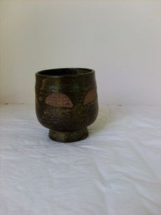 Small Hand-thrown Pot or  Cup or Bowl, clay and glaze,  in dark brown green by artist Gardei  (Eastern USA pottery artist), gift for mother