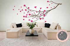 Wall Decal for the Home   Cherry Blossom by FourPeasinaPodVinyl, $65.00 www.etsy.com/shop/fourpeasinapodvinyl wall decals, removable decals, tree decals, wall words, quotes, family, love, beautiful, vinyl lettering, wall stickers
