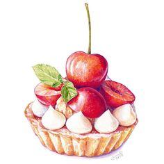 Cute Food Drawings, Kawaii Drawings, Dessert Illustration, Illustration Art, Food Art Painting, Desserts Drawing, Watercolor Pans, Cake Drawing, Cute Food Art