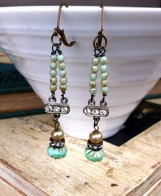 Mademoiselle. rhinestonepearl.green glass beaded by tiedupmemories