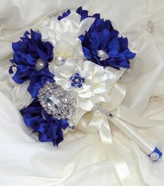 Bridal Brooch Wedding Bouquet Royal Sapphire Blue and Ivory Satin Flowers Elegant Statement Bouquet Boutonniere Not A Deposit In Stock