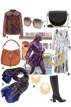 Paisley prints, gold accents, luxe accessories and fabrics are a good start combination for a chic bohemian look. #bohemianchic #folkstyle #bohostyle #paisleyprintdress #paisleydressoutfit #paisleyoutfit #fw2020 #howtowearpaisley #headscarftrend #scarfdress #foularddress #paisleyprintoutfit #paisleyprintdress #1970svintagedress #etsy #mollieparnis #tallfashionblog