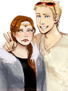 Grumpy Artemis and Amused Apollo by Joanna97.deviantart.com on @deviantART