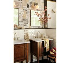 Save the silly newspaper wallpaper, this WILL BE our guest bathroom! Pottery Barn Bathroom, Bathroom Wall, Downstairs Bathroom, Bathroom Sinks, Master Bathroom, Bathroom Ideas, Bathroom Gallery, Kitchen Gallery, Bathroom Cabinets
