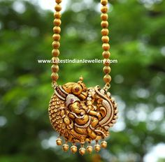 Diamond peacock ganesh pendant with gold balls rudraksh beads chain. Gold beads gundla mala with ganesh temple jewellery pendant. India Jewelry, Temple Jewellery, Pearl Jewelry, Pendant Jewelry, Wedding Jewelry, Gold Jewelry, Chain Pendants, Glass Jewelry, Gold Pendant