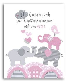 Loving this Pink & Gray Elephant 'Our Wish Was You' Print on #zulily! #zulilyfinds