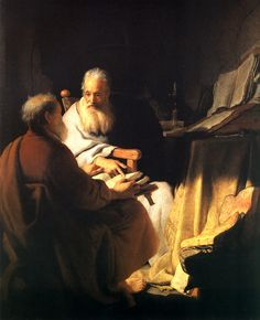Rembrandt's painting of Two Philosophers, hanging in the Prado Museum in Madrid, Spain.