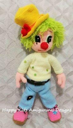 CUTE MR.CLOWN-Amigurumi Crochet Pattern by HappyKidsAmigurumi
