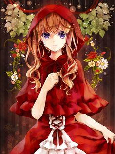 Anime picture 1200x1610 with  original puracotte long hair single tall image looking at viewer smile purple eyes orange hair girl dress bow flower (flowers) rose (roses) leaf (leaves) red dress
