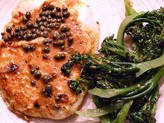 Lemon Caper Calamari #recipe served with broccolini