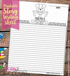 homeschool worksheet - write your own story - color the cute puppy - homework Homeschool Worksheets, Printable Worksheets, Printables, Write Your Own Story, Creative Writing, Writing Prompts, Elementary Schools, More Fun, Cute Puppies