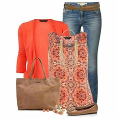 Coral cardigan with printed tank top ~ easy-mom on-the-go outfit - i love these colors! ( I already have a coral cardigan) Mode Outfits, Fall Outfits, Fashion Outfits, Fashion Trends, Womens Fashion, Fashion Ideas, Outfit Winter, Ladies Fashion, Outfits For Women