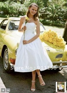 David's Bridal Satin Tea Length Wedding Dress