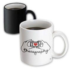 3dRose I love photography on white background, Magic Transforming Mug, 11oz