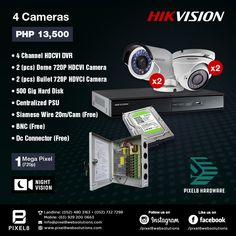 now offers CCTV packages for your security needs! Choose from Dahua Technology or HIKVision. *Note: Installation Fee not included. Contact us at ☎ Landline: 732 Mobile: Email: info Website: Cc Camera, Diy Home Security, Electronic Engineering, 4 Channel, Night Vision, Packaging, Hardware, Technology, Display