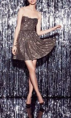Sequins, sequins and more sequins! New Year's eve party dress.