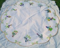 Vintage Christmas Tree Skirt ~ Handmade 12 Days Of Christmas White Felt Tree Skirt