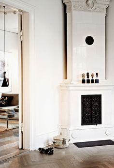 Black and white fire mantle ~ETS #architecture