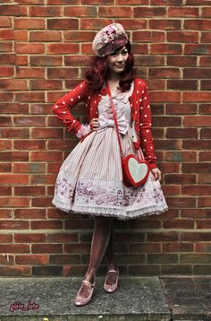 love the vintage hat.  Fancy Melody - Angelic Pretty pink x red outfitOut with a bunch of friends for ice cream <3
