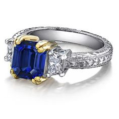 Square Emerald Cut Sapphire and Diamond Vintage Ring in Platinum and 18k Yellow Gold: # Angara