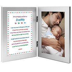 Daddy Gift From Newborn  New Dad Sweet Poem in Double Frame  Add Photo ** Find out more about the great product at the image link.