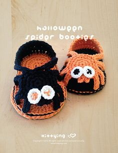 Halloween Spider Sandals Kittying Crochet Pattern by kittying.com from mulu.us