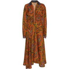 Etro Rushed Midi Dress (52.075 ARS) ❤ liked on Polyvore featuring dresses, print, long-sleeve midi dresses, long sleeve print dress, brown sequin dress, brown dress and midi dress
