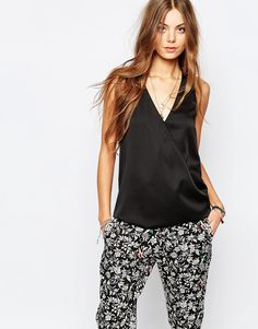 Cool Maison Scotch Woven Mix Top with Wrap Front - Black Maison Scotch Toppe til Damer til hverdag og fest