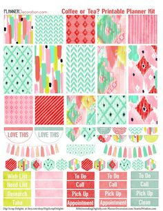 Printable Planner Stickers Kit Watercolor Ikat Coffee or Tea 4 PDF, Over 300…