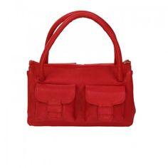 Stylogy Pooch Red Leather Satchel(bag-sat08-00003-a)