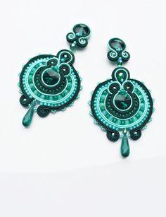 soutache Ohrringe Türkis und Smaragd von Magia Soutache auf DaWanda.com