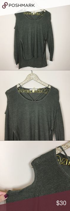 Francesca's Criss Cross Cold ShoulderGreen Sweater Good pre-owned condition, worn once! Francesca's Criss Cross Hi-Low Green Sweater. Cold shoulder cut out detail. High slits up the side. Size M. No modeling/trades. Francesca's Collections Sweaters
