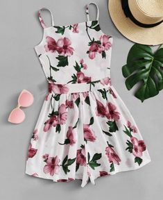 Knot Back Floral Cami RomperFor Women-romwe Cute Comfy Outfits, Cute Girl Outfits, Cute Summer Outfits, Girly Outfits, Outfits For Teens, Pretty Outfits, Pretty Dresses, Stylish Outfits, Girls Fashion Clothes